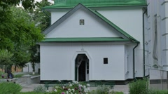 Green Roofed Small Church Entrance Sunny Day Courtyard of Church in Poltava Stock Footage