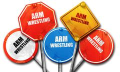 Arm wrestling sign background, 3D rendering, rough street sign c Stock Illustration