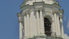 Bell Tower Close up Seven-Domed Cathedral Holy Cross Female Monastery Poltava Stock Footage