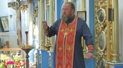 Clergy Conducting a Service in Trinity Day Seven-Domed Cathedral Poltava Stock Footage