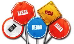 Delicious kebab sign, 3D rendering, rough street sign collection Stock Illustration