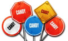 Delicious candy sign, 3D rendering, rough street sign collection - stock illustration