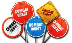 combat robot sign background, 3D rendering, rough street sign co - stock illustration