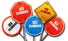 ice climbing sign background, 3D rendering, rough street sign co - stock illustration