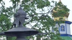 Peter the Great Memorial Near Small Church Cloudy Jesus' Ascension Day Tower of Stock Footage
