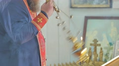 Priest is Using an Incensory During Service Kiev Ukraine Interior of Orthodox Stock Footage