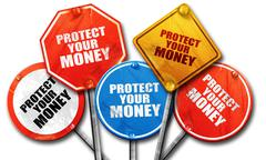 protect your money, 3D rendering, rough street sign collection - stock illustration