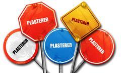 plasterer, 3D rendering, rough street sign collection - stock illustration