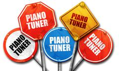 Piano tuner, 3D rendering, rough street sign collection Stock Illustration