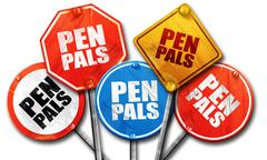 Pen pals, 3D rendering, rough street sign collection Stock Illustration