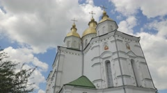 Seven-Domed Holy Cross Cathedral Poltava City Green Roofed Church Sunny Day Stock Footage
