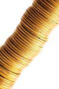 Gold coin stack isolated on white Stock Photos