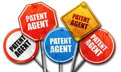 patent agent, 3D rendering, rough street sign collection - stock illustration
