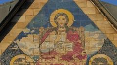 Image on a Church Gable Mosaic Trinity Day Service Kiev Ukraine Exterior of the Stock Footage