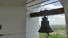 Inside the Bell Tower of the Holy Cross Monastery Poltava City Bells Close up Stock Footage