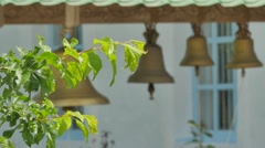 Blurred Bells of Seven-Domed Cathedral Church Courtyard Green Trees and Lawns Stock Footage