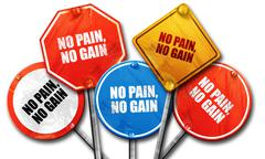 no pain, no gain, 3D rendering, rough street sign collection - stock illustration