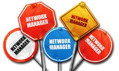 Network manager, 3D rendering, rough street sign collection Stock Illustration