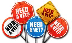 need a vet?, 3D rendering, rough street sign collection - stock illustration