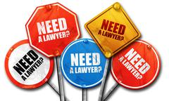 Need a lawyer?, 3D rendering, rough street sign collection Stock Illustration
