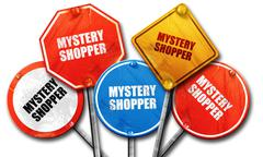 mystery shopper, 3D rendering, rough street sign collection - stock illustration