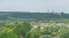 Panorama of Sophia Cathedral Built on Green Hills Cloudy Day Small Residential Stock Footage