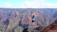 SLOW MOTION: Woman standing on the edge of canyon, victoriously raising hands Stock Footage