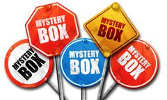 mystery box, 3D rendering, rough street sign collection - stock illustration