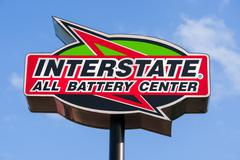 Interstate Battery Center Sign and Logo - stock photo