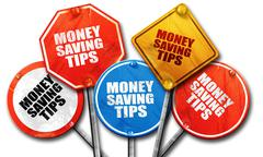 money saving tips, 3D rendering, rough street sign collection - stock illustration