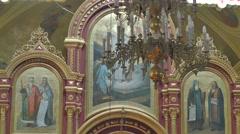 Woman in Church Trinity Day Service Poltava Ukraine Images of Saints Vintage Stock Footage