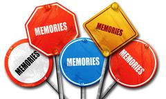 memories, 3D rendering, rough street sign collection - stock illustration