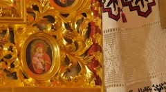 Images in Gilded Frames Trinity Day Service Poltava Interior of the Seven Domed Stock Footage