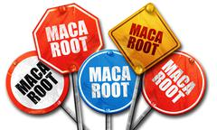 Maca root, 3D rendering, rough street sign collection Stock Illustration