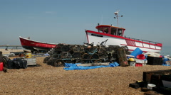 Fishing Boats beached onshore at Deal Stock Footage