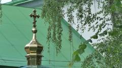 Savior Church Green Roofed Building Courtyard Summer Sunny Day Walls Golden Stock Footage
