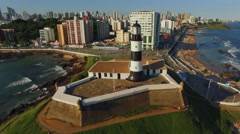Aerial View of Farol da Barra Lighthouse in Salvador, Bahia, Brazil Stock Footage