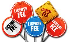 license fee, 3D rendering, rough street sign collection - stock illustration