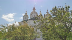 Seven-Domed Cathedral Holy Cross Monastery Poltava City Green Roofed Church Stock Footage