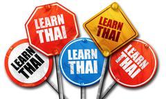 Learn thai, 3D rendering, rough street sign collection Stock Illustration