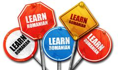 learn romanian, 3D rendering, rough street sign collection - stock illustration