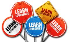 Learn economics, 3D rendering, rough street sign collection Stock Illustration