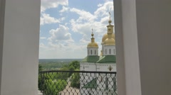 View of the Cathedral From the Bell Tower Holy Cross Monastery Poltava City Stock Footage