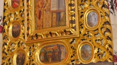 Images of Saints in Gilded Frames Trinity Day Service Seven Domed Cathedral Stock Footage