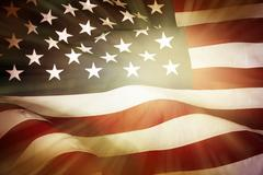 Brightly lit American flag Stock Photos