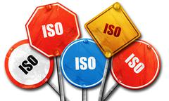 iso, 3D rendering, rough street sign collection - stock illustration