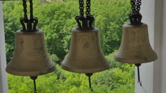 Bells on Bell Tower of Seven-Domed Cathedral Poltava Ukraine Church Sunny Day Stock Footage