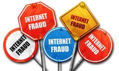 Internet fraud background, 3D rendering, rough street sign colle Stock Illustration