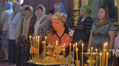 Worshippers Are Taking Bows in Church Trinity Day Service Kiev Ukraine Interior Stock Footage