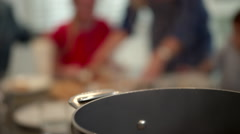 Family with pizza on dinning table. - stock footage